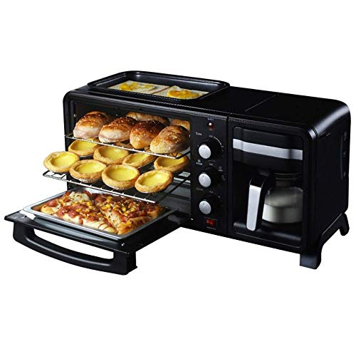 Never give up Horno tostador + sartén + hervidor de agua, máquina de desayuno tres en uno, se puede abrir al mismo tiempo, negro, horno 1050 W/13 L, 550 x 195 x 260 mm (color: A)