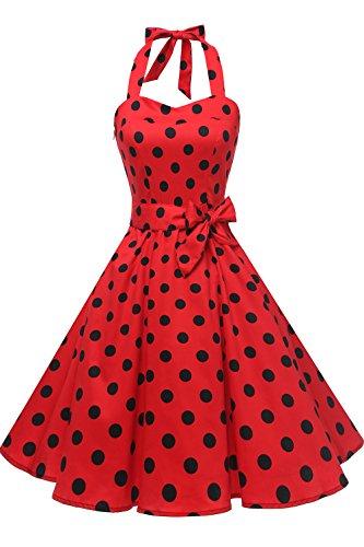 Topdress Women's Vintage Polka Audrey Dress 1950s Halter Retro Cocktail Dress Red/Black Dot M