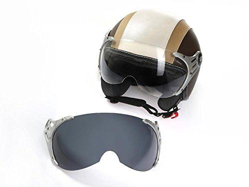 Motorradhelm Jethelm Rollerhelm CMX Chap L weiß mit Leder braun inkl. Visier getönt + klarem Ersatzvisier
