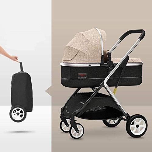 Landaus High View Pram Transport, Poussettes Buggy Compact, Portable bébé Poussette Anti-Choc en Aluminium Poussette Fournitures pour bébé ( Color : Brown )