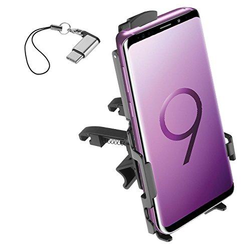 yayago KFZ telefoonhouder voor Samsung Galaxy S9+ (S9 Plus) autohouder ventilatie inclusief USB 3.1 type-C op Micro USB-adapter