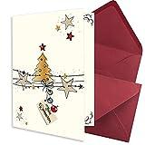 Set di 50 biglietti di Natale in formato DIN A7, con albero di Natale e stelle, con buste formato DIN C7, rosso scuro (rosso) con incollaggio a umido – auguri di Natale per aziende e privati