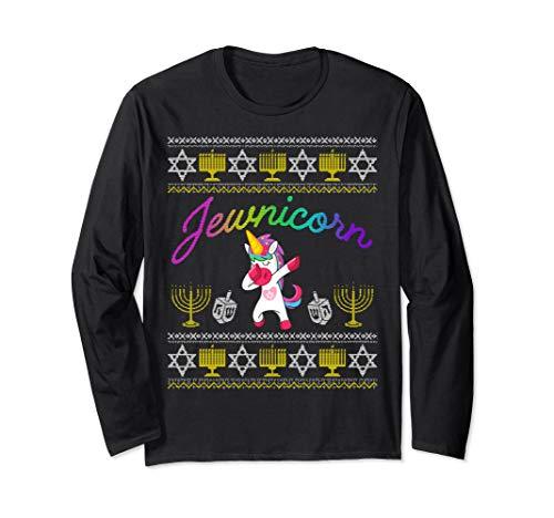 Jewnicorn Long Sleeve Dabbing Jewish Unicorn Hanukkah Pajama Long Sleeve T-Shirt