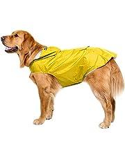 Bwiv Extra Grote Hooded Hond Regenjas Met Reflecterende Strips 100% Waterdichte Hond Regenjas, 4XL, Geel