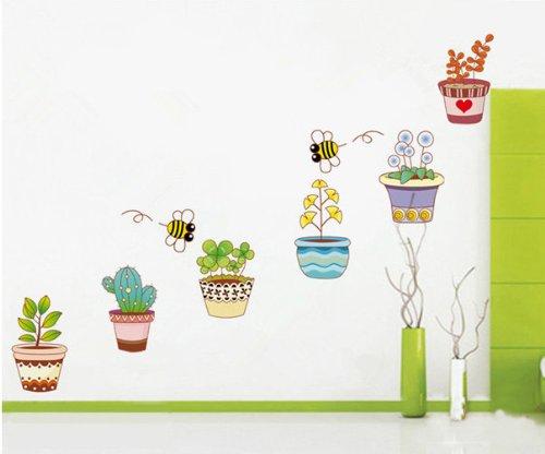 ufengke® Plantas en Macetas de Colores y Abejas Lindas Pegatinas de Pared, Sala de Estar Dormitorio Removible Etiquetas…