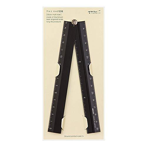 ミドリ 定規アルミマルチ定規 30cm 黒 42254006 ×10 セット