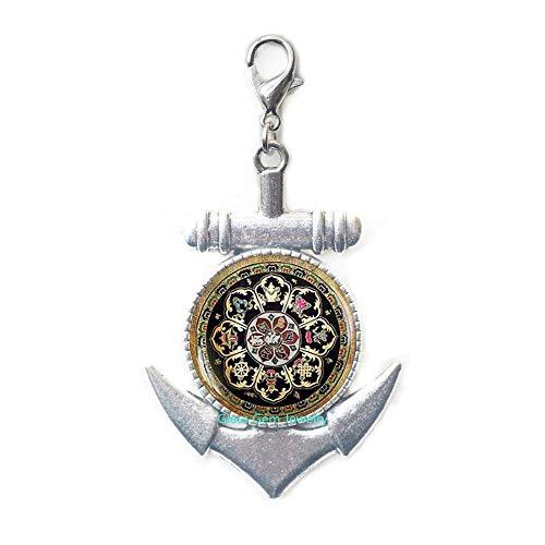Tirador de cierre de mandala budista tibetano, joyería de geometría sagrada, ancla tibetana con cierre, regalo espiritual, tirador de cierre de ancla para hombre, cierre de langosta mandala negro, Q003