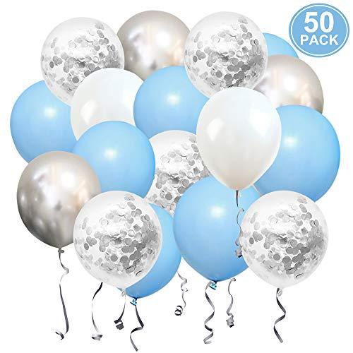 Geburtstag Luftballons Pastell Blau Weiß Silber SKYIOL Helium Konfetti Metallic Latex Ballons für Kinder Junge Hochzeit Baby Shower Abschluss Party Dekorationen, 50 Stück 30 cm