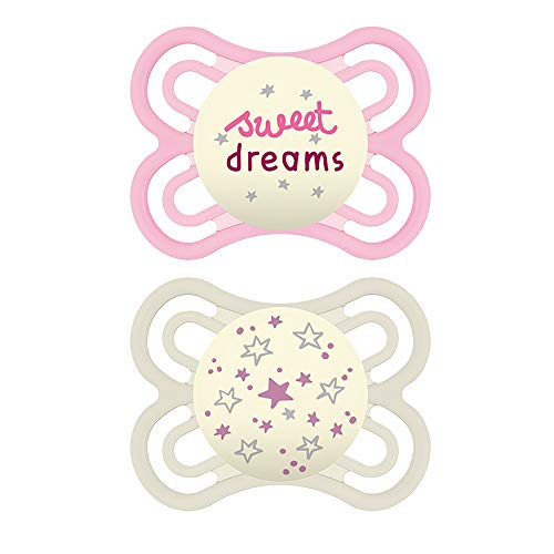 MAM Perfect Night Pacifiers, Glow in the Dark Pacifiers (2 pack, 1 Sterilizing Pacifier Case) MAM Pacifiers 0-6 Months for Baby Girl, Baby Pacifiers, Designs May Vary