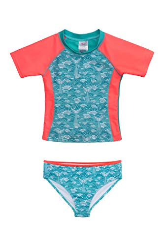 Jantzen Girls Two Piece Rashguard Swimsuit Set (6X, Seashell Print)