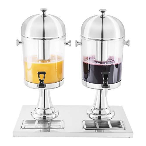 Royal Catering Dispensador de bebidas frías RCSD-2 (2 x 7 litros, Vasos hasta 14,5 cm, Depósito se puede llenar con cubitos de hielo)
