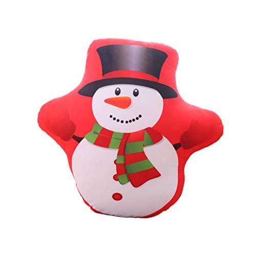 Amosfun - Juego de 2 cojines decorativos de muñeco de nieve de peluche, para sofá, 40 cm