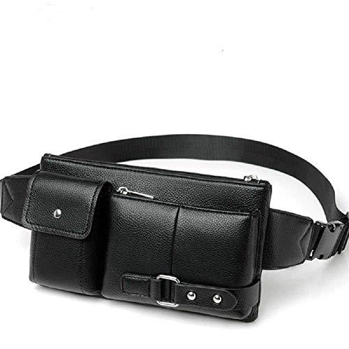 DFVmobile - Tasche Gürteltasche Leder Taille Umhängetasche für Ebook, Tablet für Microsoft Surface Duo (2020) - Schwarz
