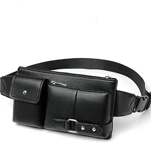 DFV mobile - Bag Fanny Pack Leather Waist Shoulder Bag para Ebook, Tablet and para Samsung Galaxy M31 Prime (2020) - Black