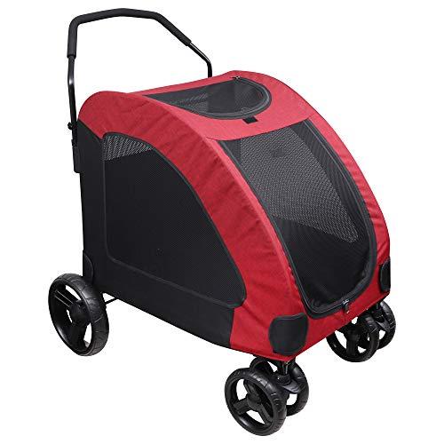BELLE VOUS Cochecito Perro - Grande 50 Kg Capacidad de Carga Cochecito para Mascotas para Grande y Mediano Talla Perro & Gato - Plegable Carro para Mascotas para Viajes y Saliente con 4 Ruedas