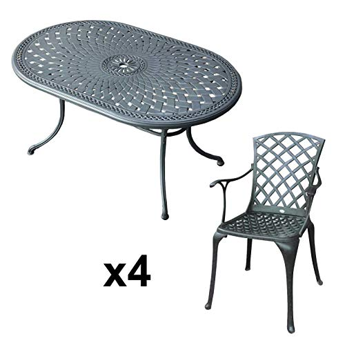 Lazy Susan June 4 Seater Oval Sand-cast Aluminium Garden Furniture Set, Maintenance-free, Weatherproof, Slate Finish, Matching Emma Chairs, Cushions Not Included