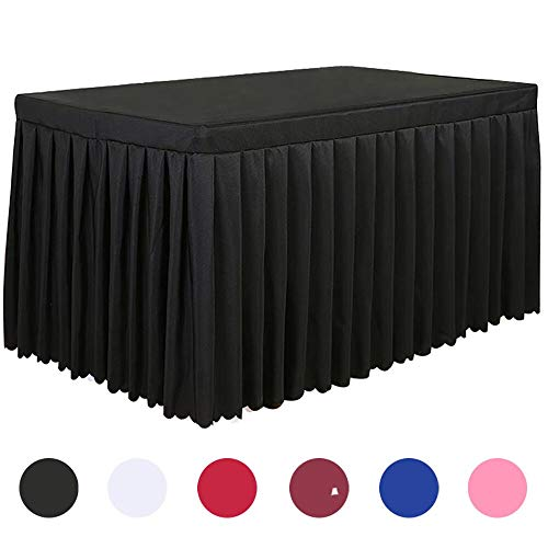 Tina 6' ft Polyester Fitted Tablecloth Table Skirt for Wedding Banquet Trade Show Black