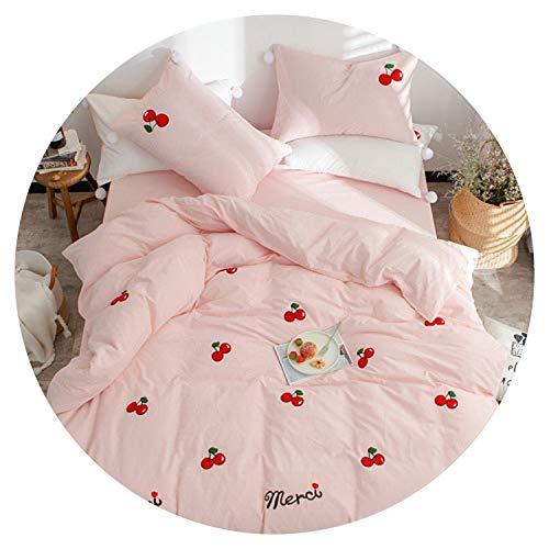 Small-shop Bedding Set Juego de Ropa de Cama para Cama de Matrimonio, Color Blanco y Rosa, 100% algodón, tamaño Queen, tamaño King, 4 Piezas, Juego de Cama Bordado, Juego de Ropa de Cama