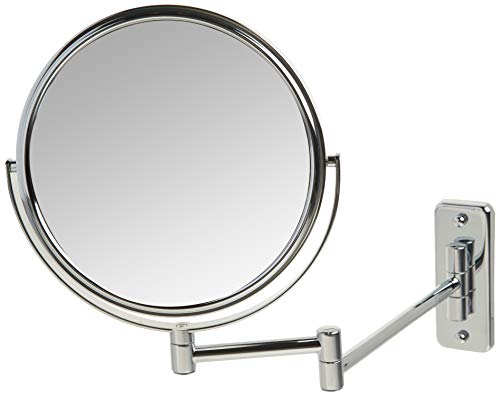 Jerdon JP7506CF 8-Inch Wall Mount Makeup Mirror with 5x Magnification, Chrome Finish, 8' Diameter Mirror Frame