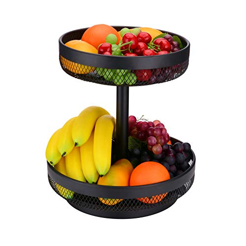 IBERG 2 Tier Fruit Basket Mesh Fruit Bowl - Basket Stand for Fruits Vegetables Bread Snacks (Black)