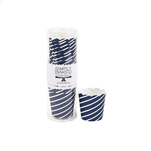 Simply Baked Petite 2 Ounce Mini Disposable Paper Baking, Party, Treat, Candy, Cupcake, Muffin and Snack Cups, 20-Pack, Navy Diagonal