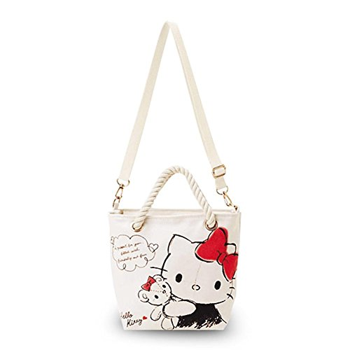 Finex Hello Kitty CANVAS White Crossbody with Rope Handles and Adjustable & Removable Long Strap