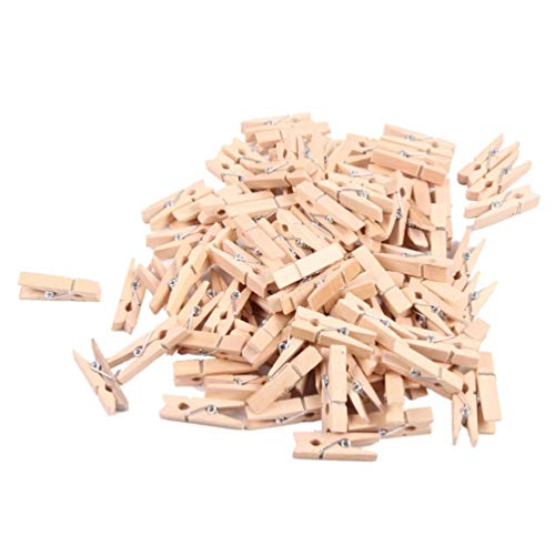 Yardwe 48pcs Wooden Photo Clips Natural Wood Muti-Functional Pegs Photo Clips for DIY Card Note Memo Postcard