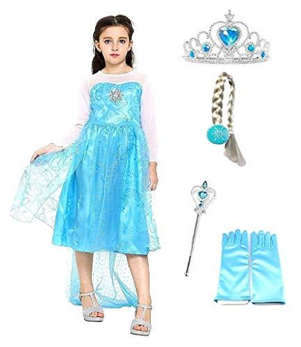 Disfraz de Elsa con corona para niña, disfraz con varilla, guantes trenzados, color azul, princesa, talla 130 cm, 5-6 años, disfraz para carnaval o Halloween