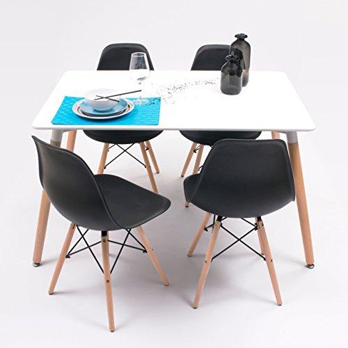 Conjunto de Comedor Tower con Mesa lacada Blanca y 4 sillas, de diseño nórdico (120x80, Negro)