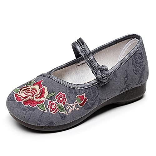 Scarpe da Arti Marziali Ricamate Fatte A Mano,Scarpe da Kung Fu Classiche per per Adulti,per Le Donne Cinese Traditiona Mbroidery Scarpe #40 Grigio