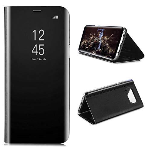 Aursen custodia Samsung Galaxy S8 Cover Mirror PU Magnetic Flip Protective Case Cover con funzione stand per Samsung Galaxy S8 , Nero