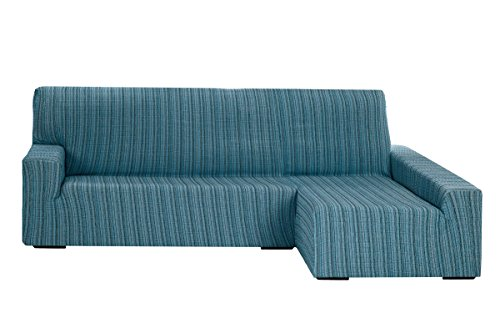Funda Elástica para Sofá Chaise Longue, modelo MEJICO, Brazo Derecho, color AZUL, Tamaño desde 240 a 280 cm