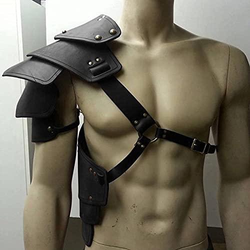 Juego de rol de cuero con escudo medieval para el hombro, armadura de vikingos, disfraz de caballeros, gladiador, soldado para cosplay, accesorios de juego de rol (color negro, tamao: talla nica)