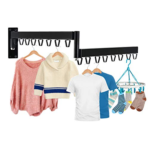 BEENLE Retractable Clothes Drying Hanger Rack Folding Wall Mounted Iron Garment Rack Double Bar SpaceSaver Hanging Clothing Rod for Closet Storage BalconyLaundryBathroomBedroom16 Hooks