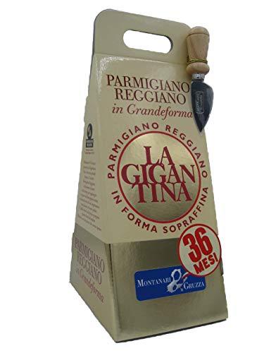 Confezione Regalo in Astuccio 'De-Luxe' Parmigiano Reggiano d.o.p. LA GIGANTINA scelto extra 36 Mesi Punta da 1 Kg Sottovuoto con coltellino e ricettario