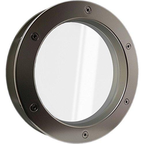 MLS Bullauge B4000 A6 Aluminium in Edelstahloptik für Wandstärke 40 +/- 2 mm Durchmesser 30 cm, Ausführung Glas Klar