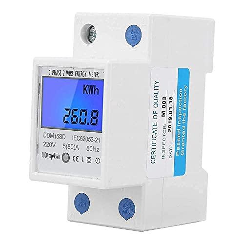 5-80A DDM15SD Medidor Electrónico Monofásico con Pantalla Digital Retroiluminada Medidor de Energía en Carril DIN Medidor de Luz