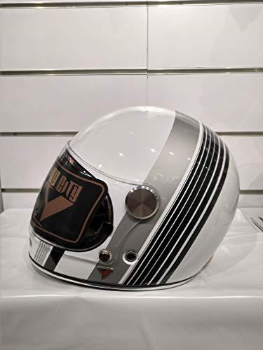 BY CITY - Casco Roadster White II Vintage Café Racer en fibra ultraligero (L)