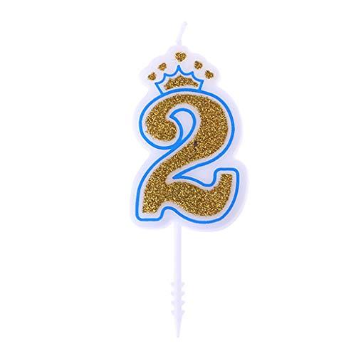 Fewxdsad - Velas de cumpleaños con Corona Brillante para niños, decoración de Tartas de cumpleaños número 2