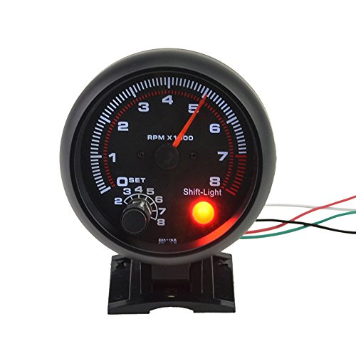 Carrfan- 3.75' Car Universal Black Tachometer Gauge White Inter Shift Light 0-8000 RPM