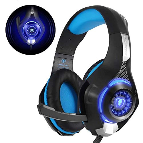 Schimer Gaming headset voor PS4 PC One, LED licht Crystal Clarity Sound Professionele hoofdtelefoon, ruisonderdrukking over-ear LED PS4 headset met microfoon voor laptop Mac telefoon tablet blauw