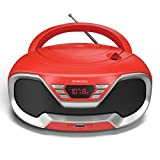 Oakcastle CD200 – Poste Radio CD Portable avec Bluetooth, Radio FM, Prise 3,5 mm et Port USB, Alimentation Secteur/Piles, Haut-parleurs intégrés, pour Adultes et Lecteur CD Enfant (Rouge)