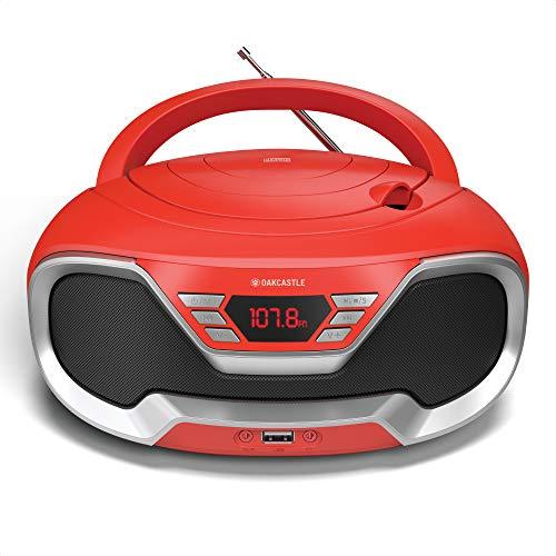 Oakcastle CD200 – Radio stereo portatile con lettore CD, Bluetooth, ingresso AUX da 3,5mm e porta USB, altoparlanti integrati, alimentazione settore/batteria, per adulti e bambini (Rosso)