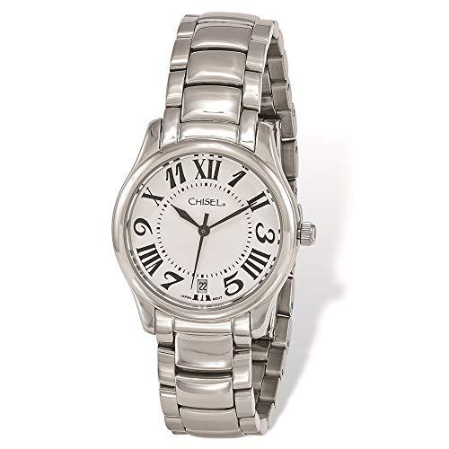 Armbanduhr aus Edelstahl, weißes Zifferblatt.