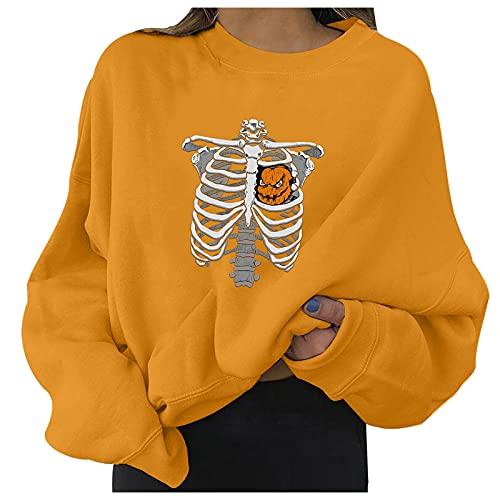 SoeHir Sweatshirt for Women Halloween Costume Long Sleeve O-Neck Pullover Top Blouse Orange