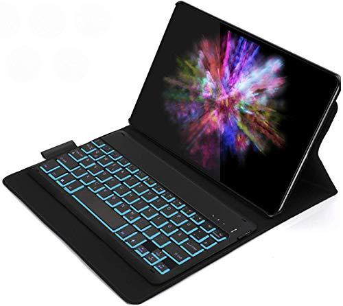 Jelly Comb Samsung Galaxy Tab A 10.1 2019 Tastatur Hülle, wiederaufladbar beleuchtet mit 7 Farben Backlight QWERTZ Bluetooth-Tastatur mit Schützhülle für Samsung Tab A 10.1 T515/T510, Schwarz
