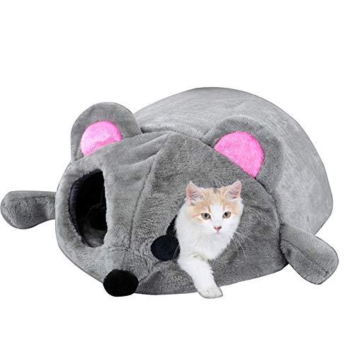 Happyshop18 Katzenhöhle, warmes Haustierhaus für Katzen, Tunnelbett, Welpen, Kaninchen, Haustiernest, Höhle, Bett, Haus, Cartoon-Maus-Design, 50 x 40 x 21 cm