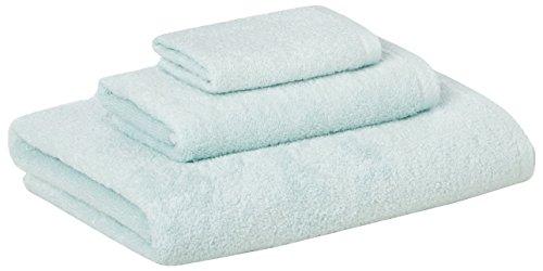 Amazon Basics Quick-Dry, Luxurious, Soft, 100% Cotton Towels, Ice Blue - 3-Piece Set