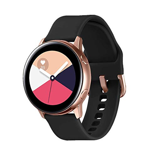 TECKMICO Galaxy Watch Active Bands,20mm Quick Release Bands Compatible for Samsung Galaxy Watch Active (40mm)/Galaxy Watch(42mm)/Gear Sport with Rose Gold Watch Buckle (Black, Small)