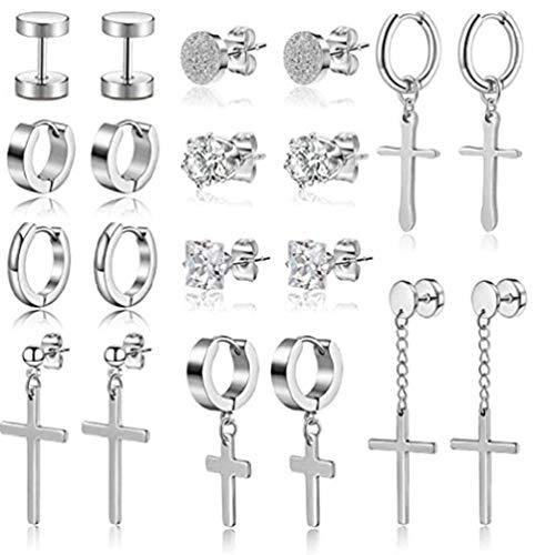 10 pares de pendientes de acero inoxidable con forma de cruz, para hombres y mujeres